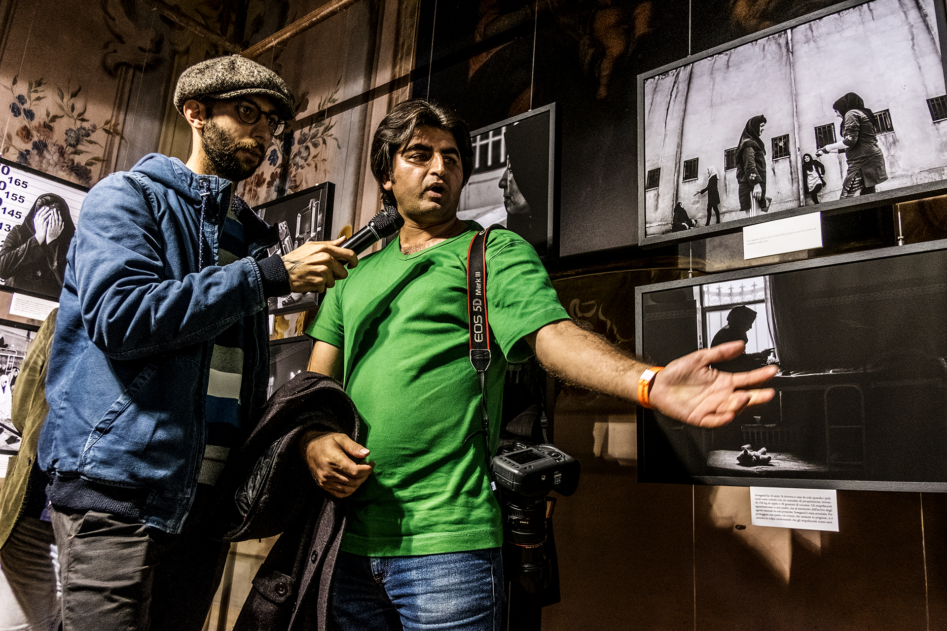 Sadegh Souri during the guided tour of his exhibition Waiting Girls, held at Palazzo Barni in Lodi. © FPmag