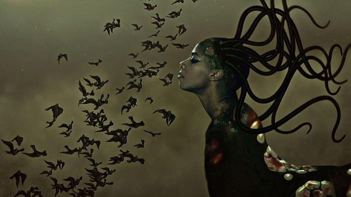 Wangechi Mutu, The End of eating Everything, 2013. Animated color video with sound, 8 minutes, 10 second loop. © Wangechi Mutu. Courtesy the artist and Gladstone Gallery, New York and Brussels