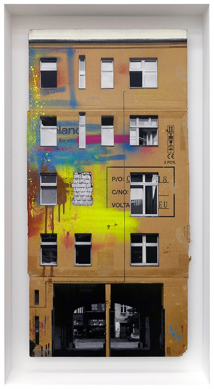 EVOL, Takes Two To Tango, 2017. Spray paint on cardboard, 93x46 cm. © EVOL