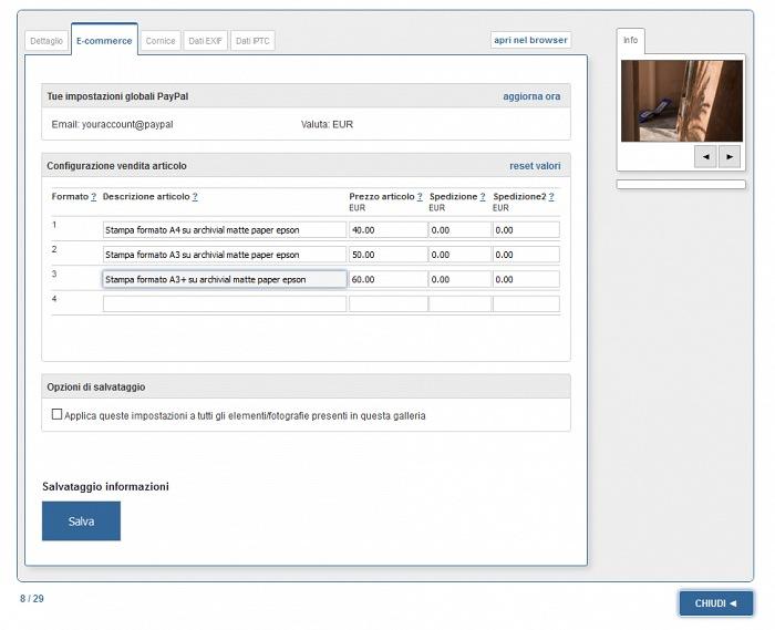 La schermata di amministrazione da cui impostare il modulo di e-commerce di Myphotoportal.com.