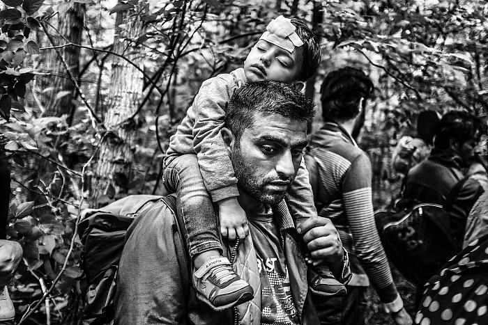 In un bosco tra Serbia e Ungheria. Dal reportage In viaggio con i migranti. © Maurizio Faraboni.