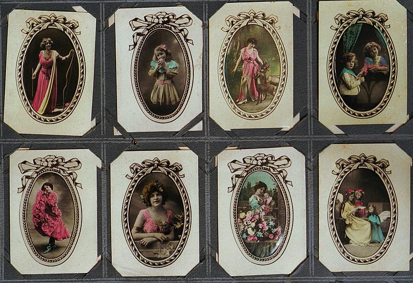 Autore sconosciuto, Album di cartoline bianconero dipinte a mano. Biblioteca Nazionale José Martí, 1920 circa.