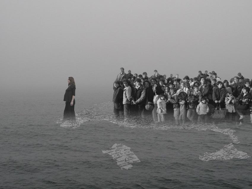 Agnese purgatorio, dalla clandestinità, 2014, collage digitale, 100x140cm.© agnese purgatorio. courtesy podbielski contemporary.