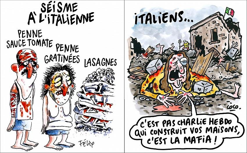 Le vignette di Charlie Hebdo sul terremoto in Centro Italia del 24 agosto 2016.