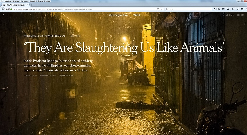 L'apertura scelta dal The New York Times per versione online del reportage They Are Slaughtering Us Like Animals di Daniel Berehulak