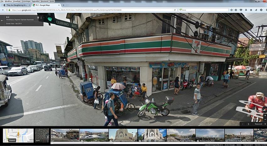 La Google Street View del luogo dell'omicidio mostrato nell'immagine precedente. Dal reportage They Are Slaughtering Us Like Animals di Daniel Berehulak, pubblicato il 7 dicembre 2016 sull'edizione online del The New York Times