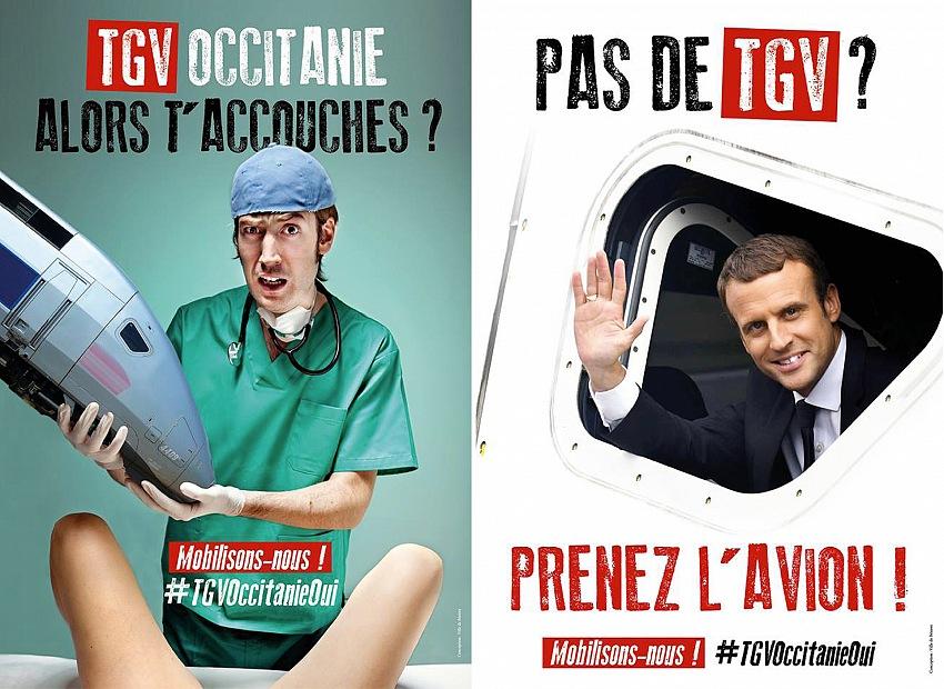 I manifesti della campagna voluta dal sindaco di Beziers. A sinistra: TGV Occitania, allora partorisci? Mobilitiamoci. A destra: Non c'è il TGV? Prendete l'aereo? Mobilitiamoci.