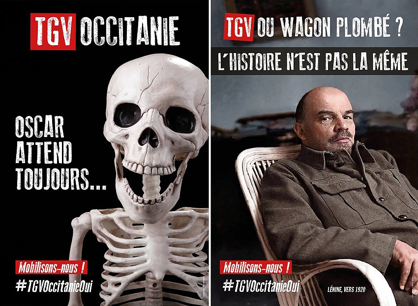 I manifesti della campagna voluta dal sindaco di Beziers. A sinistra: TGV Occitania. Oscar è sempre in attesa. Mobilitiamoci! A destra: TGV o vagone piombato? La storia non è la stessa