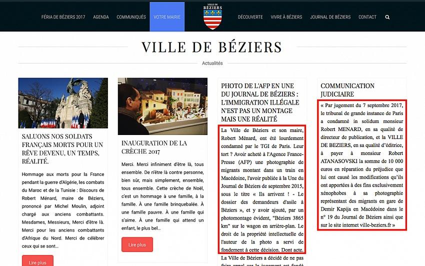 La home page del sito del comune di Béziers (in data 16 dicembre 2017) con le notizie relative alla condanna del sindaco al risarcimento di 10.000,00 € per l'alterazione a fini xenofobi di una fotografia di Robert Atanasovski.