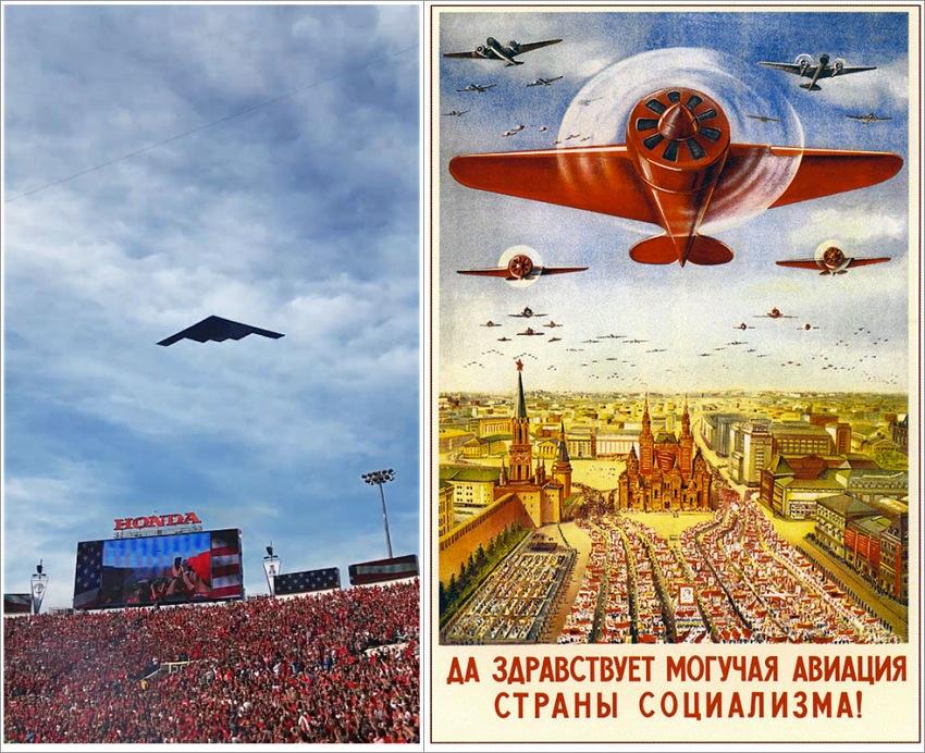 A sinistra, Una schermata dal video pubblicato il 2 gennaio 2018 sulla pagina Facebook della ESPN. A destra, un manifesto di propaganda sovietica degli anni 30, la scritta recita «Lunga vita alla potente aviazione del paese del socialismo» (trad. Andrey Semenov).